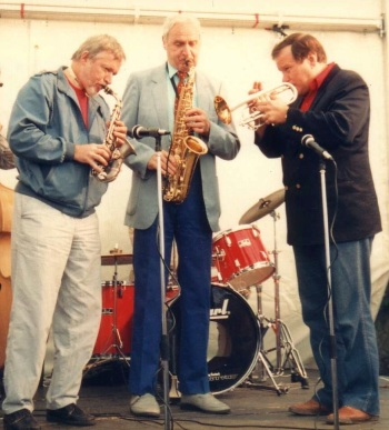 Jim Galloway, Bruce Turner, Warren Vache, Edinburgh Jazz Fest, 1988